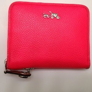 COACH NEON PINK CARRIAGE TURNLOCK WALLET